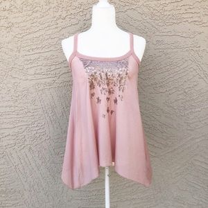 WILLOW & CLAY Blush Sequin Embroidered Tank Top